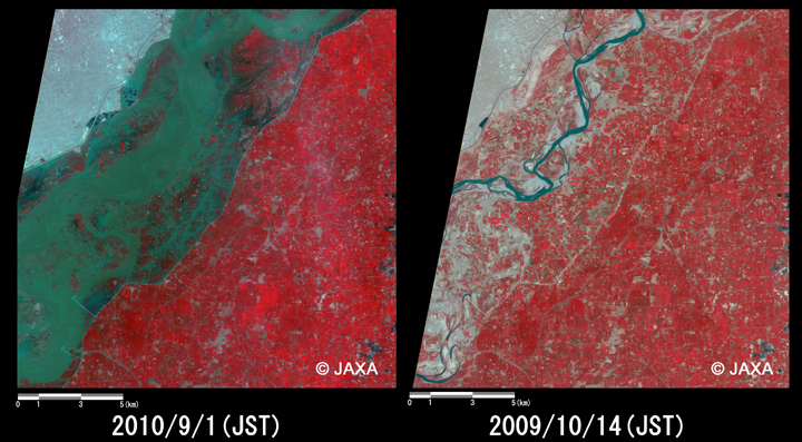 Fig.5: Enlarged images of the swollen rivers at Multan (324 square kilometers, left: September 1, 2010; right: October 14, 2009).