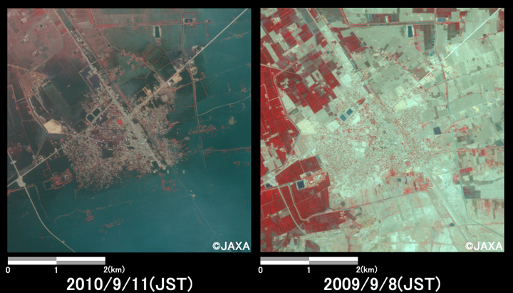 Fig.2: Enlarged images of the flooded area in Dera Allah Yar. (25 square kilometers, left: September 11, 2010; right: September 8, 2009).