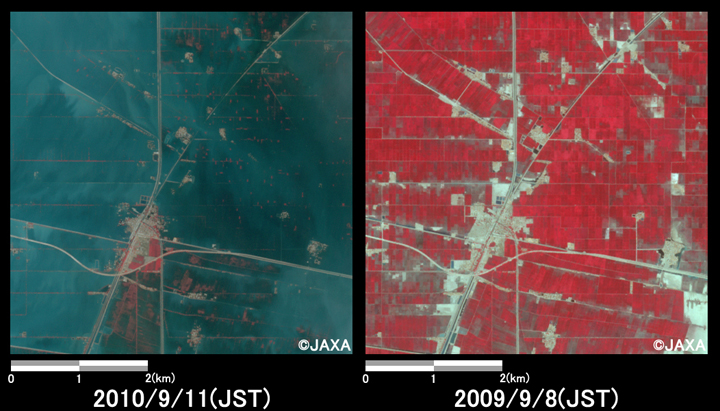 Fig.3: Enlarged images of the swollen rivers in Qubba Saida Khan. (25 square kilometers, left: September 11, 2010; right: September 8, 2009).