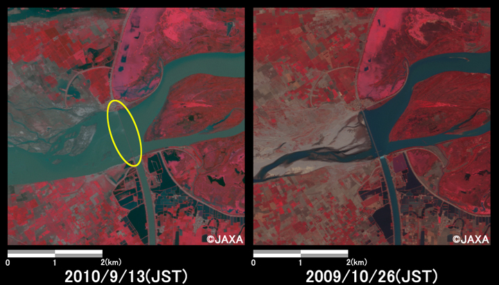 Fig.4: Enlarged images at Chenab River in Kot Hara. (25 square kilometers, left: September 13, 2010; right: October 26, 2009).