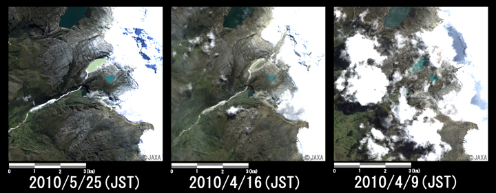 Fig. 3: Enlarged image of the lake that occurred the GLOF in Hualcan Glacier (six kilometers squares, left: May 25, middle: April 16, and right: April 9, 2010 (JST)).