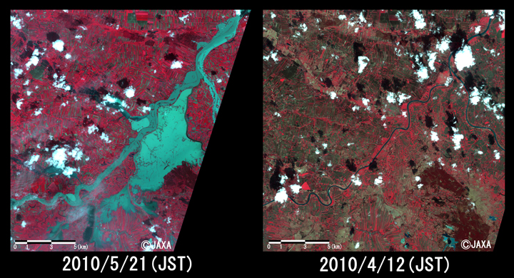 Fig. 2: Enlarged image of Vistula River in Przemykow (20 kilometers squarers, left: May 21, 2010; right: April 12, 2010).
