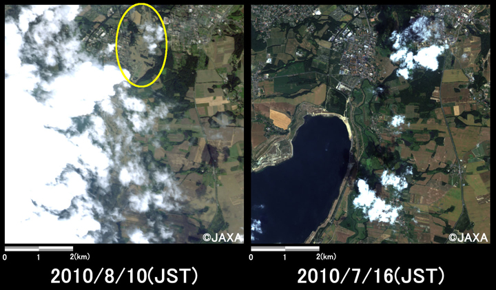 Fig.2: Enlarged images of the submerged area at Zgorzelec (49 square kilometers, left: August 10, 2010; right: July 16, 2010).