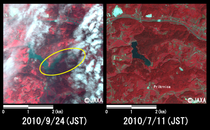 Fig.2: Enlarged images of the freshet at Prikrnica. (16 square kilometers, left: September 24, 2010; right: July 11, 2010).