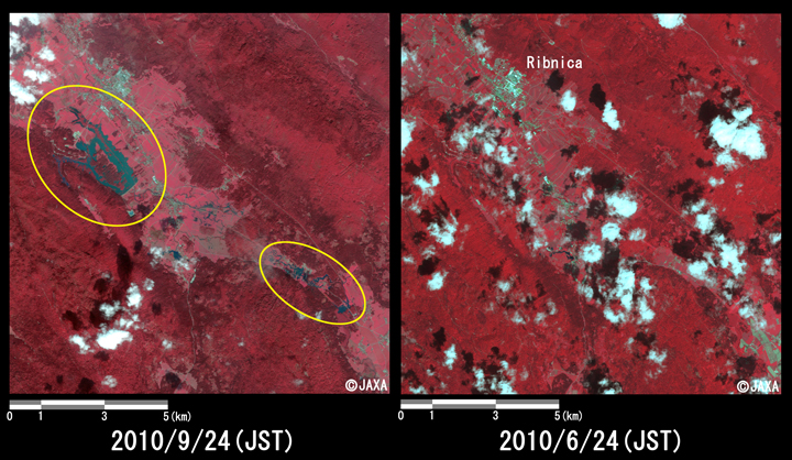 Fig.4: Enlarged images of the freshet at Ribnica. (144 square kilometers, left: September 24, 2010; right: June 24, 2010).