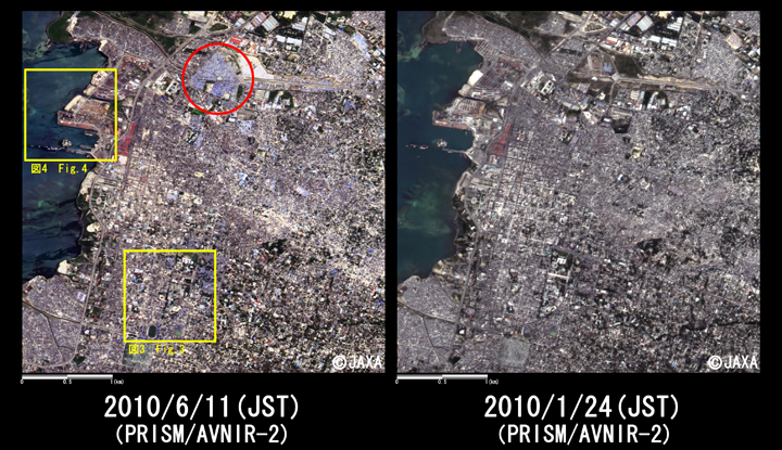 Fig. 2: Enlarged pan-sharpened image around center of Port-au-Prince (4km square, left: June 11, 2010; right: January 24, 2010). Yellow squares show location of Figs. 3 to 4.