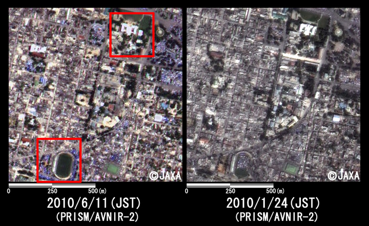 Fig. 3: Enlarged image around presidential palace in Haiti (1km squares, left: June 11, 2010; right: January 24, 2010).