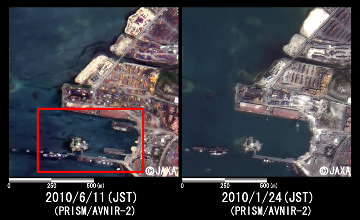Fig. 4: Enlarged image of the harbor at Port-au-Prince (1km squares, left: June 11, 2010; right: January 24, 2010).