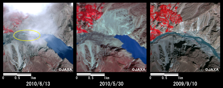 Fig. 4: Enlarged image of down reaches of the dammed lake corresponds to the site of the landslide (2.5 km squares, left: June 13, 2010; middle: May 30, 2010; right: Sep. 10, 2009).