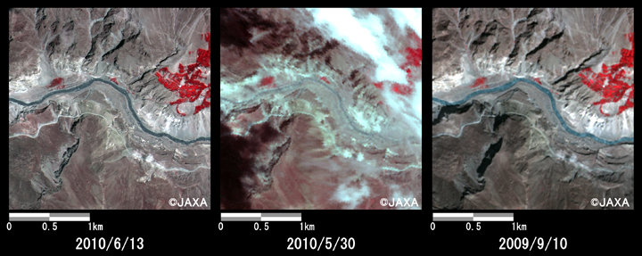 Fig. 5: Enlarged image of down reaches of the dammed lake. (2.5 km squares, left: June 13, 2010; middle: May 30, 2010; right: Sep. 10, 2009).