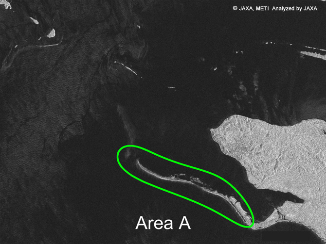 Figure 5(After the Earthquake): This image taken by the PALSAR (on April 8, 2007) shows the area encircled by a square in Figure 4 Compared to Figure 6 below, which shows the Area A at the time of low-tide level, the land obviously extended (circled by a green line.)