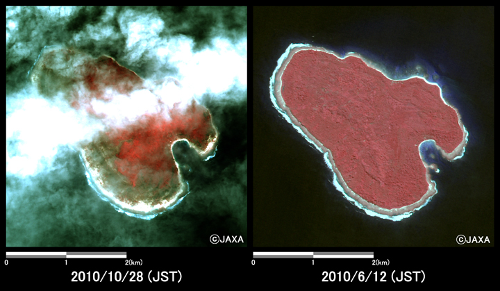 Fig.6: Enlarged images in an island off South Pagai Island (16 square kilometers, left: October 28, 2010; right: June 12, 2010).