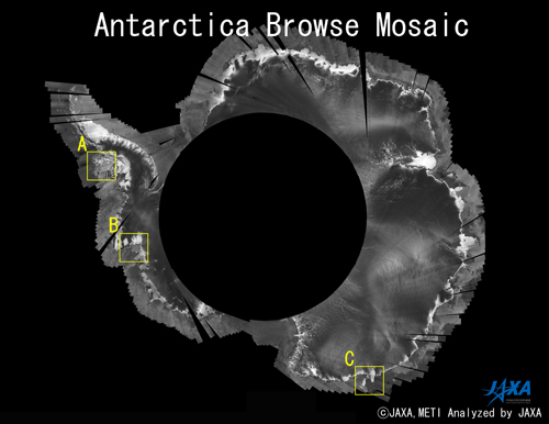 Fig.1: Antarctica mosaic image covers the time between Dec. 8 2007 and Jan. 22 2008.
