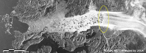 Fig.6 Up: Image of Jakobshavn Glacier by JERS-1 SAR(Oct. 4, 1994)