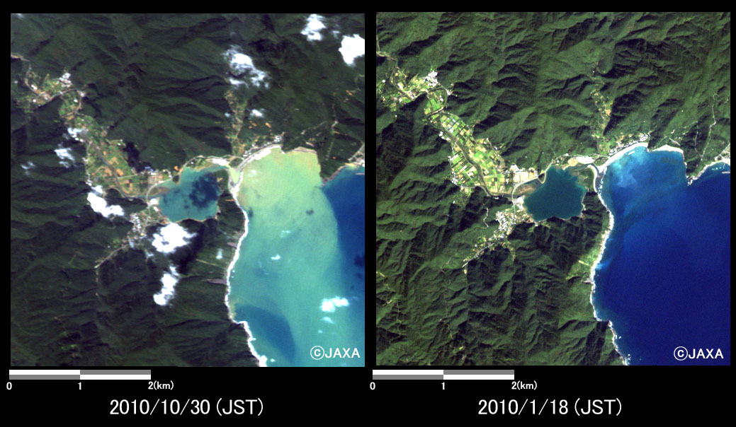 Fig.4: Enlarged images at Sumiyou-cho (25 square kilometers, left: October 30, 2010; right: January 18, 2010).