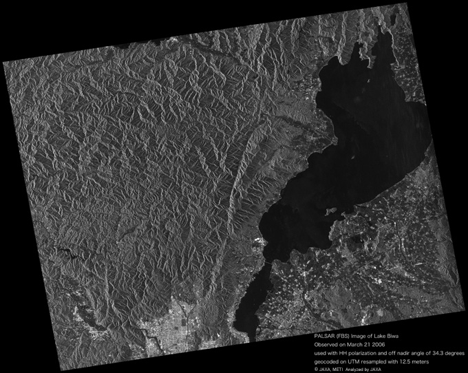 The image data on Lake Biwa in Shiga Prefecture was observed by the PALSAR on Mar. 21, 2006 (JST).