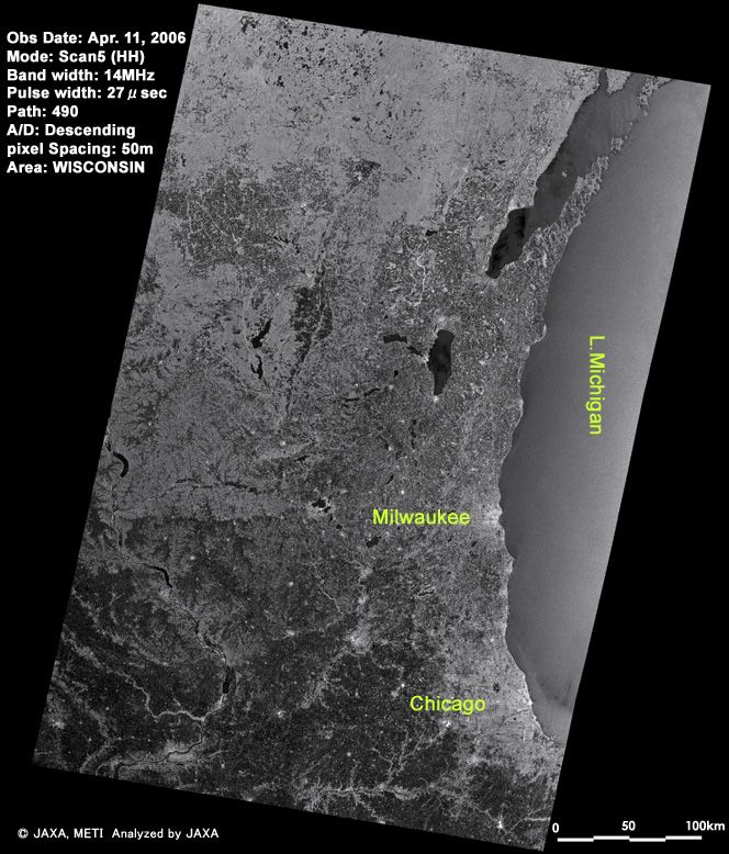 Around Lake Michigan, U.S.A. image observed by PALSAR (ScanSAR) on Apr. 11, 2006.