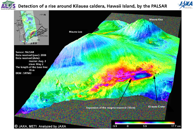 Detection of a rise around Kilauea caldera, Hawaii Island, by the PALSAR.