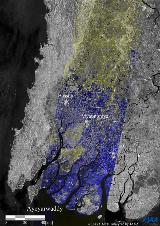 A color composite of these images (Fig.2), RED and GREEN for after the flood of May 6 and BLUE for the before of Apr. 24, shows the land surface change in the color. BLUE color in the figure shows the flooding in dominant and it spread out widely in the image.