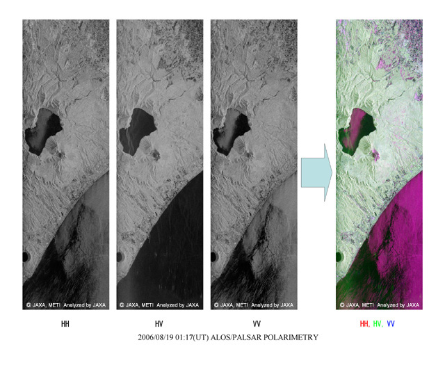 Figure 2 presents HH, HV and VH polarimetric images and RGB color composite images of Tomakomai, Japan, acquired by PALSAR using H/V polarization on August 19, 2006.