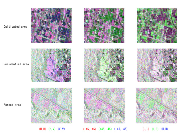 Fig. 4. Polarimetric images of cultivated, residential and forest areas.