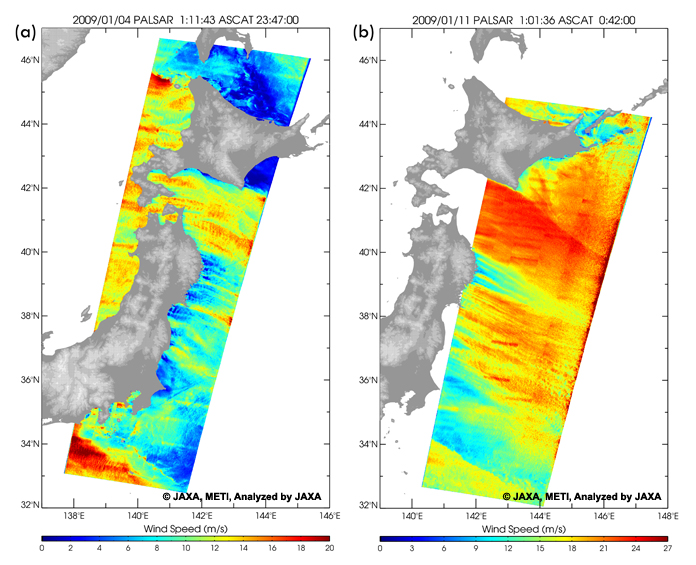 Fig. 1 shows ocean surface wind speeds around Japan derived by ALOS/PALSAR ScanSAR observations on (a) 4 and (b) 11 January 2009.