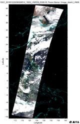 「しきさい」による2018年1月23日2時頃(世界時)のフィリピン、マヨン火山の観測画像(赤・緑・青波長の250m観測データで作成したRGB画像)(朝鮮半島~東南アジアまでの広域の図)