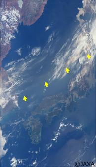 「しきさい」搭載のSGLIによる2018月3月29日の日本周辺の観測データから作成したカラー合成画像