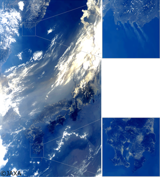 「しきさい」搭載のSGLIによる2018月3月29日の日本周辺の観測データから作成した疑似カラー合成画像