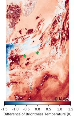 「しきさい」搭載のSGLIによる2018月3月29日の日本周辺の観測データから作成した輝度温度差の画像