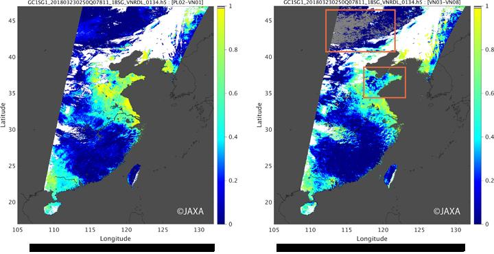 (左)偏光と近紫外バンドで推定したエアロゾル光学的厚さ、(右)青と赤バンドで推定したエアロゾル光学的厚さ(参考)