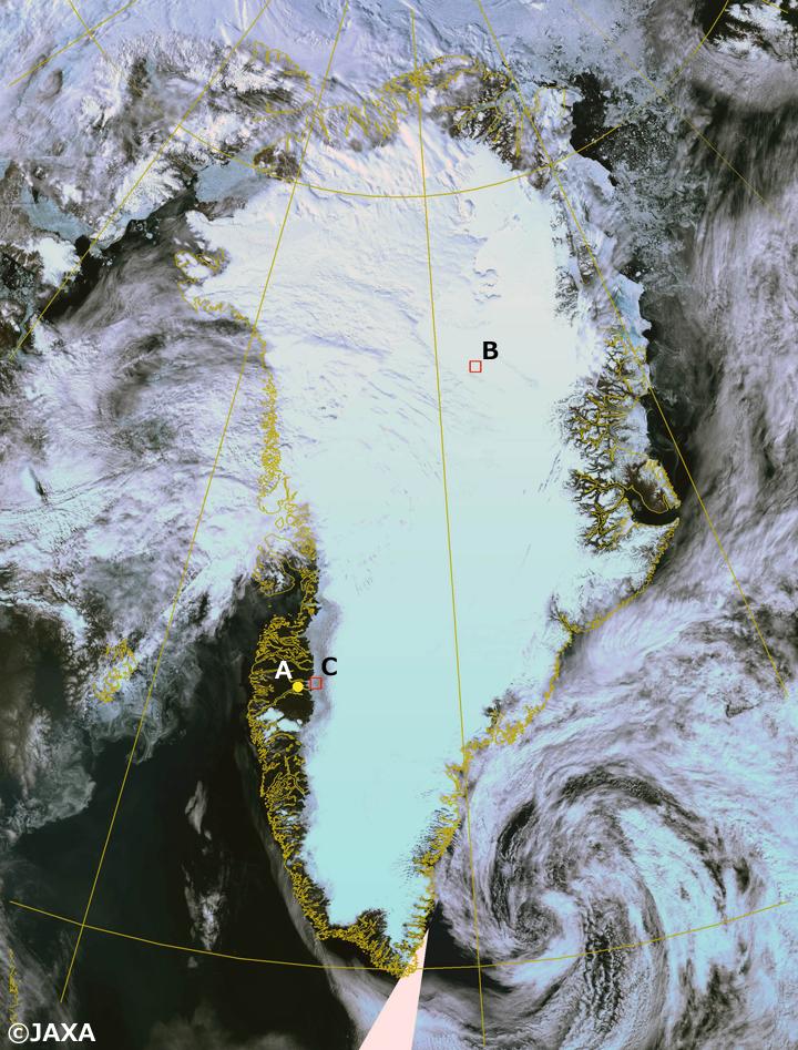 「しきさい」搭載SGLIセンサが2018年7月13日に観測したグリーンランド氷床のカラー合成画像(R:G:B=VN08:VN06:VN03)。Aはカンゲルススアーク空港、BはEast GRIPサイト、CはRussel氷河サイトの位置をそれぞれ示している(詳細は本文参照)。