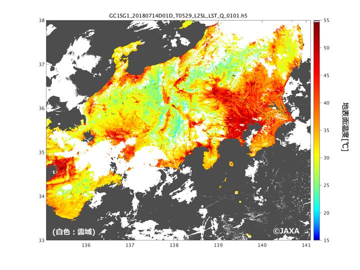 2018年7月14日の10:30頃に観測された11µmの輝度温度。図の白色の領域は雲域を示しています(図1~図5共通)。(雲周辺はまだ雲が取りきれていない可能性があります。)