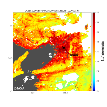 大阪周辺の日中輝度温度