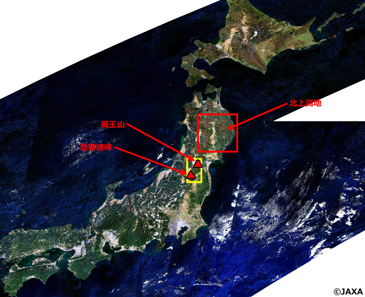 「しきさい」搭載のSGLIによる2018年10月の日本周辺観測データから作成した北海道から近畿地方にかけてのカラー合成画像。SGLIの赤(VN08:673.5nm)・緑(VN05:530nm)・青(VN03:443nm)のチャンネルの観測データをそれぞれR・G・Bに割り当てた。画像に境目が見えるのは、観測日による観測方向・場所の違い等によるもの。