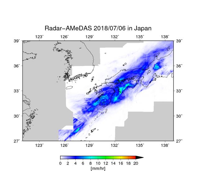 気象庁レーダアメダス解析雨量による、2018/07/06 09JST – 07/07 09JSTの24時間における平均降水量 (mm/hr)。
