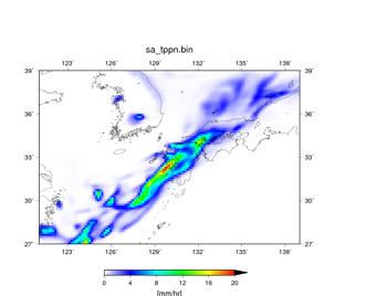 空間解像度14 kmで行った100個の予報において、降水域の分布が近かった実験結果。降水量 (mm/hr)。