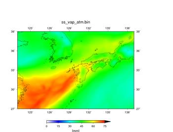 空間解像度14 kmで行った100個の予報において、降水域の分布が近かった実験結果。可降水量 (mm)。