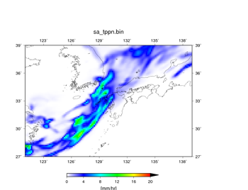 空間解像度14 kmで行った100個の予報において、降水域の分布が悪かった実験結果。 07/05 09JSTからの予報で、07/06 09JST – 07/07 09JSTの24時間における平均値。降水量 (mm/hr)。