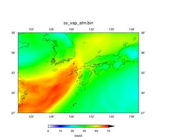 空間解像度14 kmで行った100個の予報において、降水域の分布が悪かった実験結果。 07/05 09JSTからの予報で、07/06 09JST – 07/07 09JSTの24時間における平均値。可降水量 (mm)。