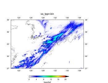 図4に用いた予報初期値を用いて空間解像度3.5kmで行った予報実験結果(07/05 09JSTからの予報)。07/06 09JST – 07/07 09JSTの24時間における平均値。降水量 (mm/hr)。