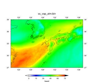 図4に用いた予報初期値を用いて空間解像度3.5kmで行った予報実験結果(07/05 09JSTからの予報)。07/06 09JST – 07/07 09JSTの24時間における平均値。可降水量 (mm)。