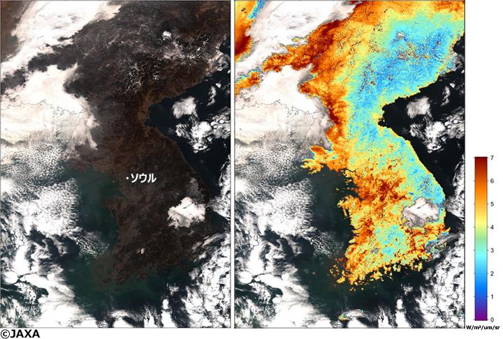 1月13日の11時頃(日本時間)に「しきさい」が観測した画像。(左)人間の目で見たものに近い画像(右)偏光輝度の観測(陸上のみ)