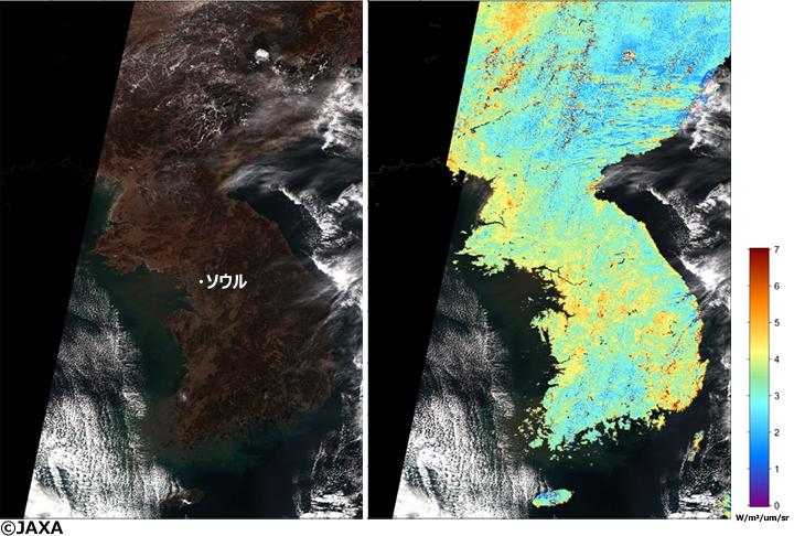 図1と同様。ただし、エアロゾルが比較的少なかった1月6日の14時頃(日本時間)に観測した画像。