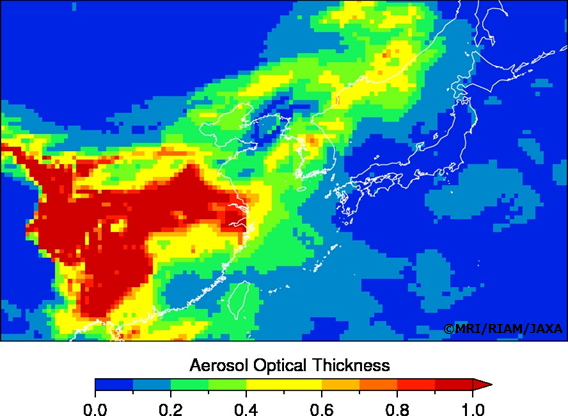 大気微粒子シミュレーションシステムMASINGARで計算された1月14日15時(日本時間)の大気微粒子の濃さの指標。