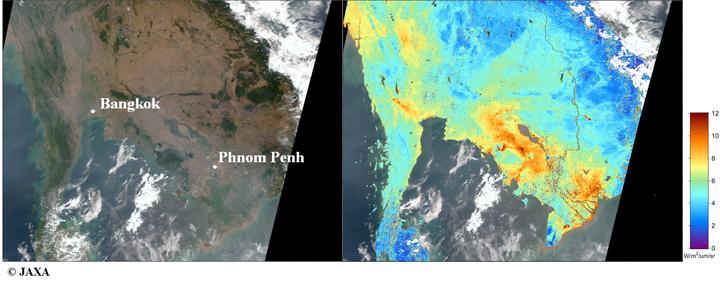 1月29日の10時頃(インドシナ時間)に「GCOM-C」が観測した画像(白色部は雲)。(左)人間の目で見たものに近い画像(右)偏光輝度の観測(陸上のみ)。