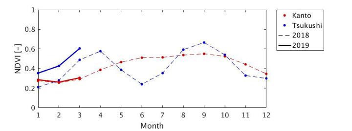 「しきさい」観測データから得られた関東平野(赤線)と筑紫平野(青線)の平均植生指数の季節変化(破線:2018年、実線:2019年)