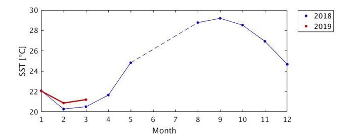 「しきさい」観測データから得られた北緯25-30東経140-145(図4青枠の領域)の平均海面温度の季節変化(青線:2018年、赤線:2019年)。2018年6-7月の破線は観測データを再処理中。