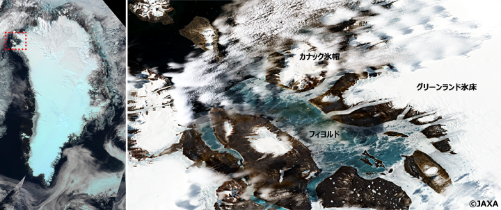 左:気候変動観測衛星しきさい(GCOM-C/SGLI)が撮影したグリーンランド氷床全体のトゥルーカラー画像。図中赤枠が右図の領域。右:Sentinel-2/OLIが2019年6月17日に撮影したトゥルーカラー画像