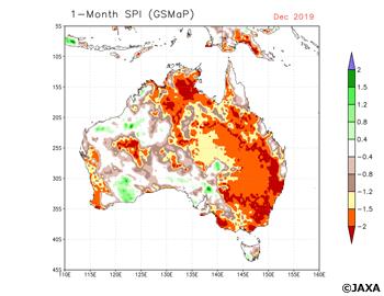 2019年12月の1か月間のGSMaP降水量から計算したオーストラリアのSPI